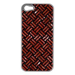 Woven2 Black Marble & Red Marble Apple Iphone 5 Case (silver)