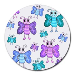 Cute butterflies pattern Round Mousepads