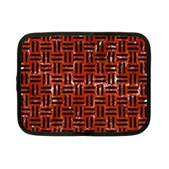 Woven1 Black Marble & Red Marble (r) Netbook Case (small)