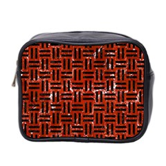Woven1 Black Marble & Red Marble (r) Mini Toiletries Bag (two Sides)