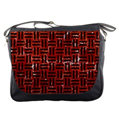 Woven1 Black Marble & Red Marble (r) Messenger Bag