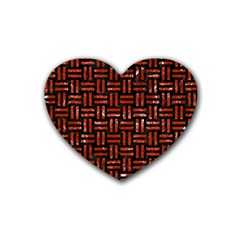 Woven1 Black Marble & Red Marble Rubber Coaster (heart)