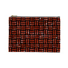 Woven1 Black Marble & Red Marble Cosmetic Bag (large)