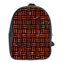Woven1 Black Marble & Red Marble School Bag (large)