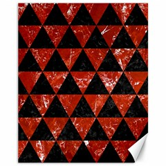 Triangle3 Black Marble & Red Marble Canvas 11  X 14