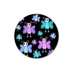 Blue and purple butterflies Magnet 3  (Round)