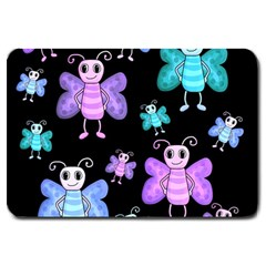 Blue and purple butterflies Large Doormat