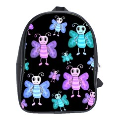 Blue and purple butterflies School Bags(Large)
