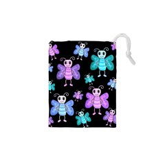 Blue And Purple Butterflies Drawstring Pouches (xs)