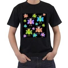 Cartoon style butterflies Men s T-Shirt (Black)