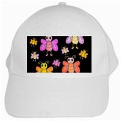 Cute butterflies, colorful design White Cap