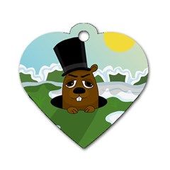 Groundhog Dog Tag Heart (one Side)