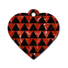 Triangle2 Black Marble & Red Marble Dog Tag Heart (one Side)