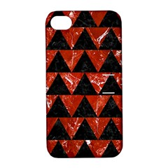 Triangle2 Black Marble & Red Marble Apple Iphone 4/4s Hardshell Case With Stand