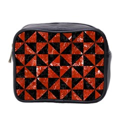 Triangle1 Black Marble & Red Marble Mini Toiletries Bag (two Sides)