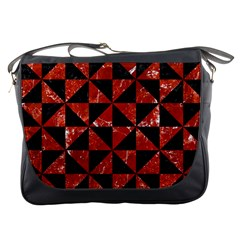 Triangle1 Black Marble & Red Marble Messenger Bag