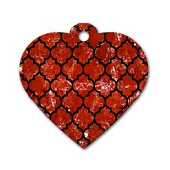 Tile1 Black Marble & Red Marble (r) Dog Tag Heart (one Side)
