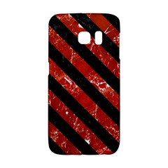 Stripes3 Black Marble & Red Marble (r) Samsung Galaxy S6 Edge Hardshell Case
