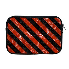Stripes3 Black Marble & Red Marble (r) Apple Macbook Pro 17  Zipper Case
