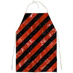 Stripes3 Black Marble & Red Marble Full Print Apron