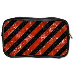 Stripes3 Black Marble & Red Marble Toiletries Bag (one Side)