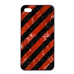 Stripes3 Black Marble & Red Marble Apple Iphone 4/4s Seamless Case (black)