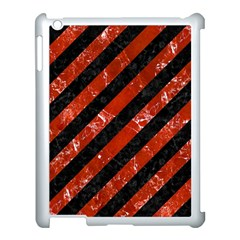 Stripes3 Black Marble & Red Marble Apple Ipad 3/4 Case (white)