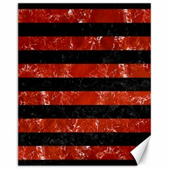 Stripes2 Black Marble & Red Marble Canvas 16  X 20