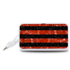 Stripes2 Black Marble & Red Marble Portable Speaker (white)