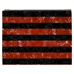 Stripes2 Black Marble & Red Marble Cosmetic Bag (xxxl)