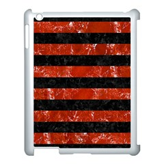 Stripes2 Black Marble & Red Marble Apple Ipad 3/4 Case (white)