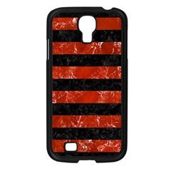 Stripes2 Black Marble & Red Marble Samsung Galaxy S4 I9500/ I9505 Case (black)