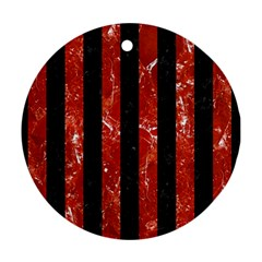 Stripes1 Black Marble & Red Marble Round Ornament (two Sides)