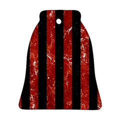 Stripes1 Black Marble & Red Marble Bell Ornament (two Sides)