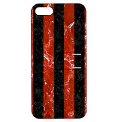 Stripes1 Black Marble & Red Marble Apple Iphone 5 Hardshell Case With Stand