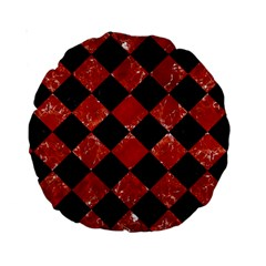 Square2 Black Marble & Red Marble Standard 15  Premium Round Cushion