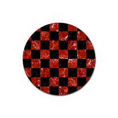 Square1 Black Marble & Red Marble Rubber Coaster (round)