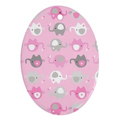 Animals Elephant Pink Cute Ornament (oval)