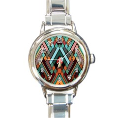 Abstract Mosaic Color Box Round Italian Charm Watch