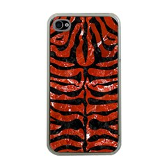 Skin2 Black Marble & Red Marble (r) Apple Iphone 4 Case (clear)