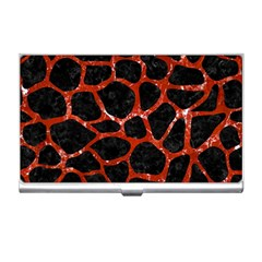 Skin1 Black Marble & Red Marble (r) Business Card Holder