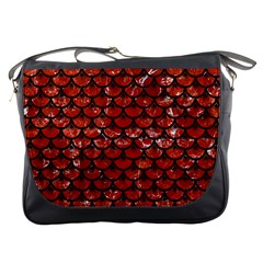 Scales3 Black Marble & Red Marble (r) Messenger Bag