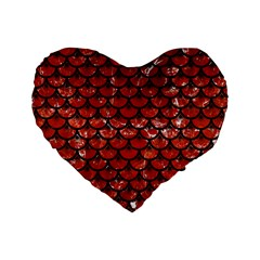 Scales3 Black Marble & Red Marble (r) Standard 16  Premium Heart Shape Cushion