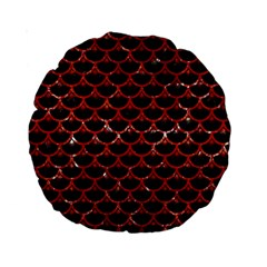 Scales3 Black Marble & Red Marble Standard 15  Premium Round Cushion