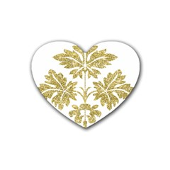 Gold Authentic Silvery Pattern Heart Coaster (4 pack)
