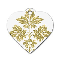 Gold Authentic Silvery Pattern Dog Tag Heart (One Side)