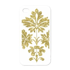 Gold Authentic Silvery Pattern Apple iPhone 4 Case (White)