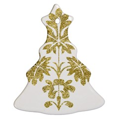 Gold Authentic Silvery Pattern Ornament (Christmas Tree)
