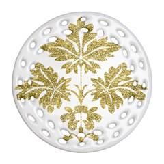 Gold Authentic Silvery Pattern Round Filigree Ornament (2Side)
