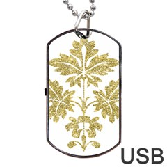 Gold Authentic Silvery Pattern Dog Tag USB Flash (Two Sides)